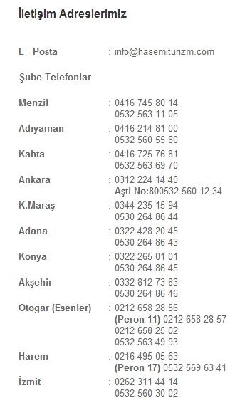 haşemi turizm telefon numaraları