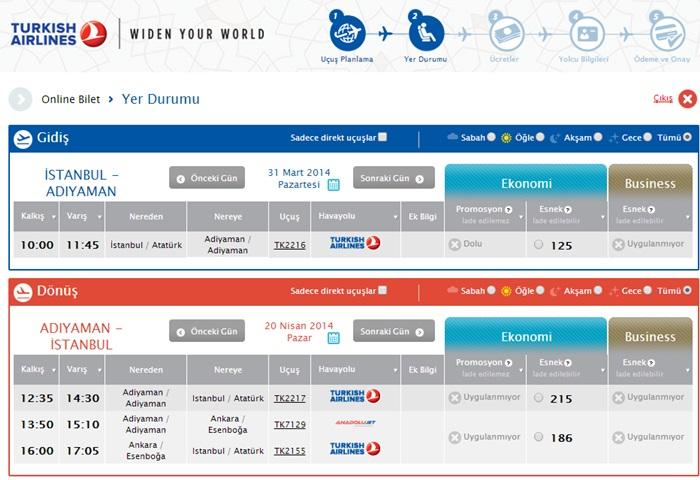 istanbul adıyaman uçak bileti fiyat