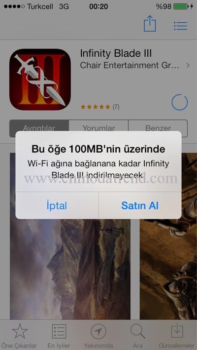 App store 100 mb limit kaldırma
