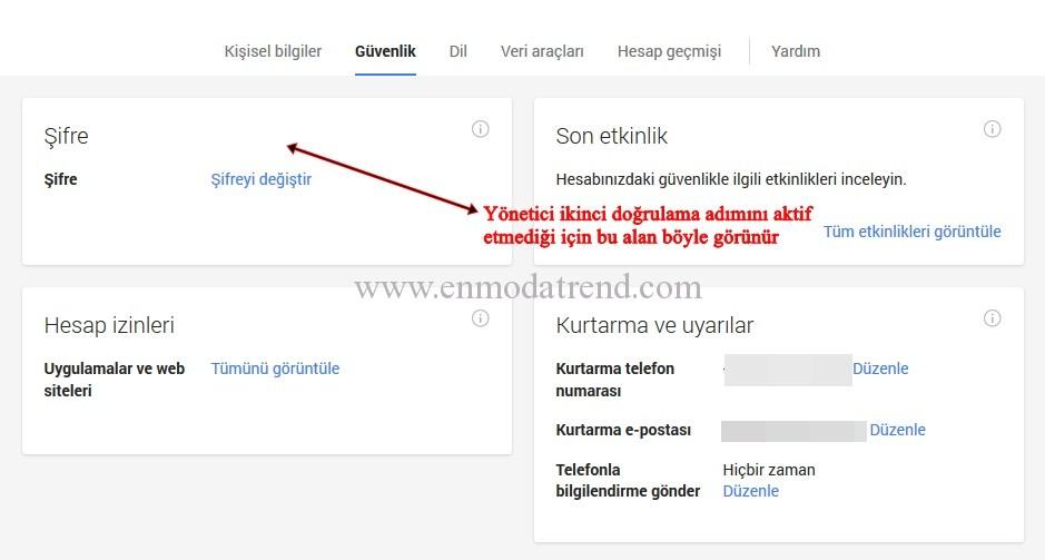 Google apps ikinci doğrulama adımını etkinleştirme